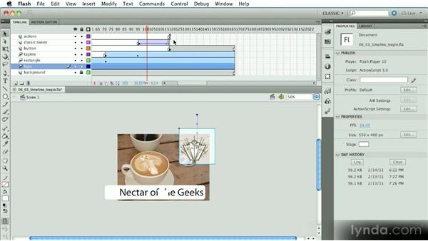 The Timeline: Part three: Introduction to Flash Animation