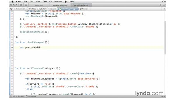 Creating a custom function to check the viewport: Creating a Responsive Sortable Photo Gallery with jQuery