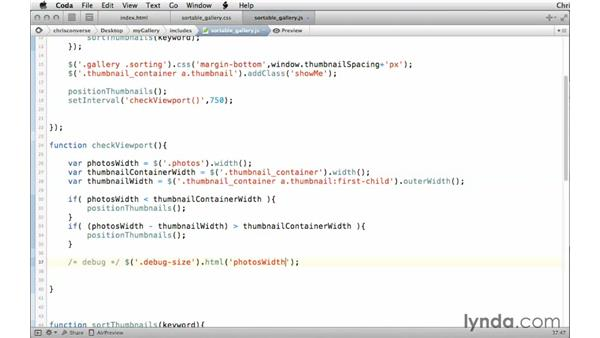 Using a set interval to continually run the viewport function: Creating a Responsive Sortable Photo Gallery with jQuery