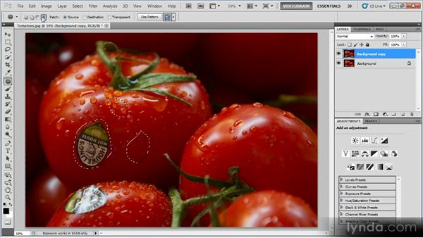 The Patch tool: Photoshop Image Cleanup Workshop