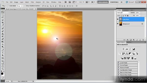 Adding lens flare: Photoshop Creative Effects Workshop