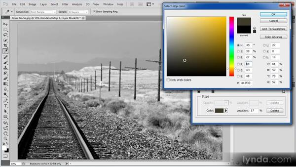 Applying a Gradient Map adjustment: Photoshop Creative Effects Workshop
