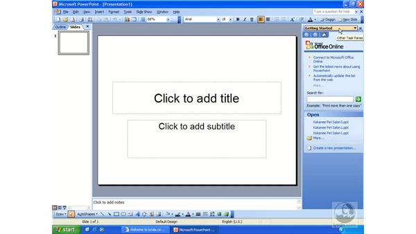 exploring the interface: PowerPoint 2003 Essential Training