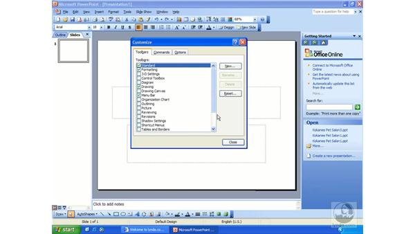 toolbars and menus: PowerPoint 2003 Essential Training
