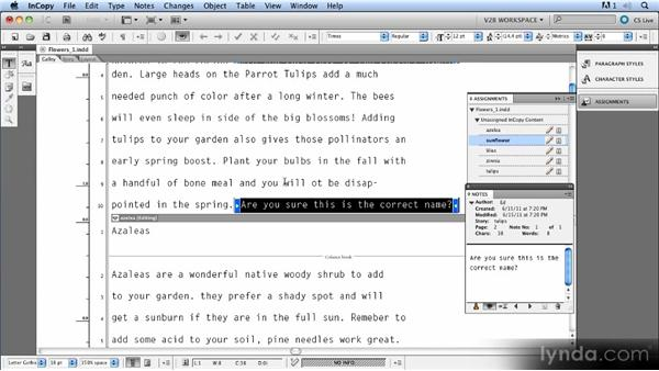 Using notes: Up and Running with InCopy CS5
