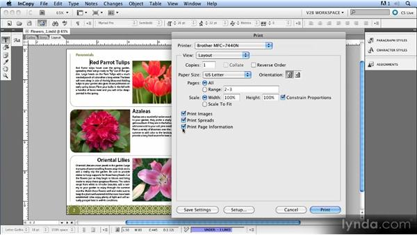 Printing options: Up and Running with InCopy CS5