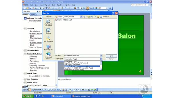 saving a presentation: PowerPoint 2003 Essential Training