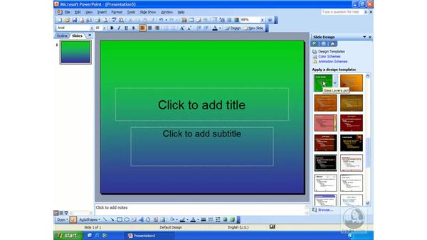 design and color scheme: PowerPoint 2003 Essential Training