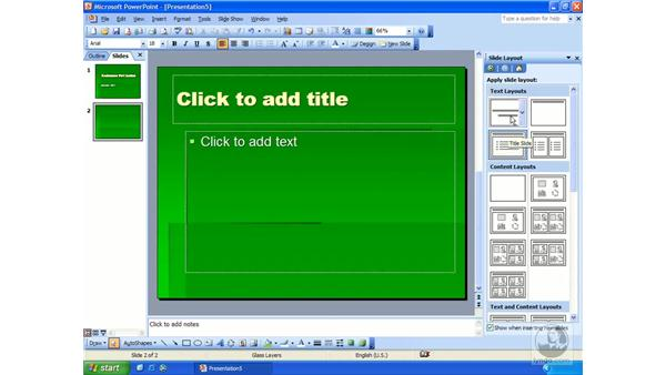 new slides and text: PowerPoint 2003 Essential Training