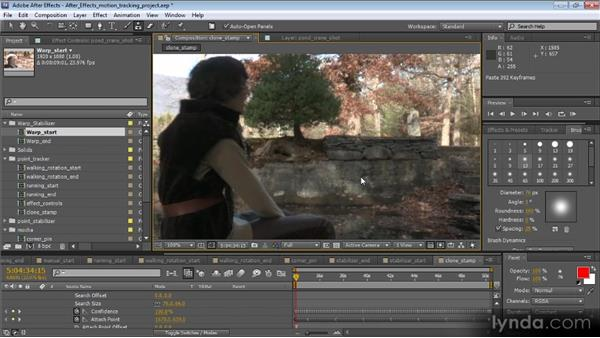 Using point tracking data with Clone Stamp strokes: Motion Tracking and Stabilization with After Effects CS5.5