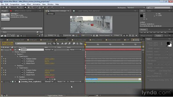 Averaging two tracks and using a null: Motion Tracking and Stabilization with After Effects CS5.5