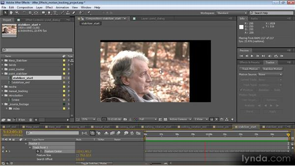 Stabilizing motion with the point tracker: Motion Tracking and Stabilization with After Effects CS5.5
