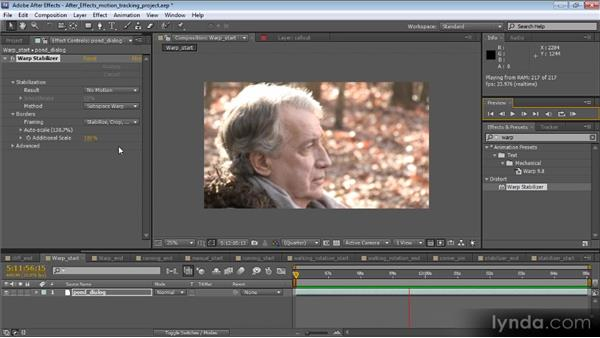 Overview of the Warp Stabilizer effect: Motion Tracking and Stabilization with After Effects CS5.5