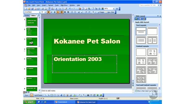 aligning text: PowerPoint 2003 Essential Training