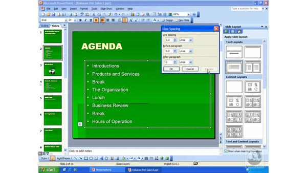 spacing and indents: PowerPoint 2003 Essential Training