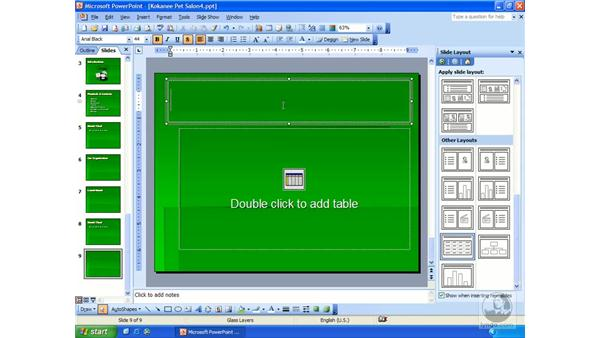 creating a table: PowerPoint 2003 Essential Training