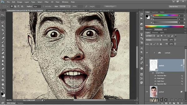 Pencil sketching one image onto another: Photoshop CS6 One-on-One: Mastery