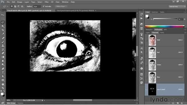 Brightening eyes and teeth in a filtered portrait: Photoshop CS6 One-on-One: Mastery