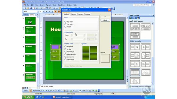 formatting tables: PowerPoint 2003 Essential Training