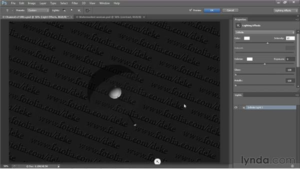 Lighting a watermark texture map: Photoshop CS6 One-on-One: Mastery