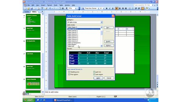 MS Word tables: PowerPoint 2003 Essential Training