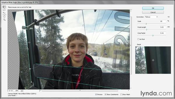 Manually straightening a GoPro photo: Photoshop CS6 One-on-One: Mastery