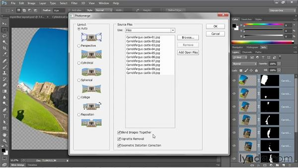 Stitching together a seamless panorama: Photoshop CS6 One-on-One: Mastery