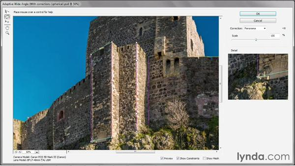 Correcting a panorama with Adaptive Wide Angle: Photoshop CS6 One-on-One: Mastery