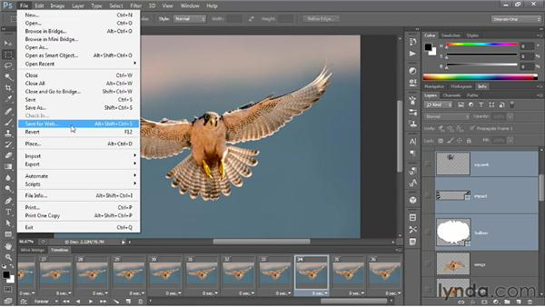 Exporting a QuickTime movie and GIF animation: Photoshop CS6 One-on-One: Mastery