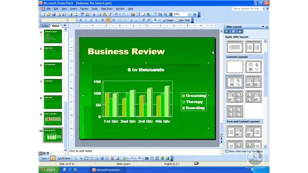 editing data and chart type: PowerPoint 2003 Essential Training