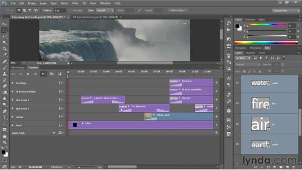 Combining your text into video groups: Photoshop CS6 One-on-One: Mastery