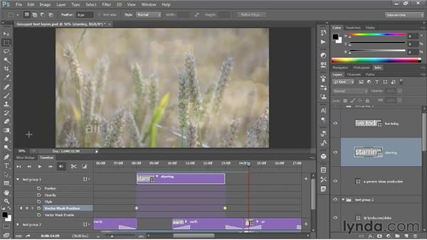 Adding motion to text (or any layer): Photoshop CS6 One-on-One: Mastery