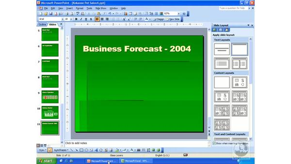 MS Excel charts: PowerPoint 2003 Essential Training