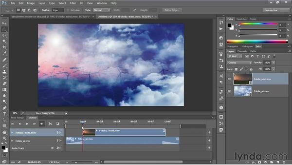 Superimposing video clips with blend modes: Photoshop CS6 One-on-One: Mastery