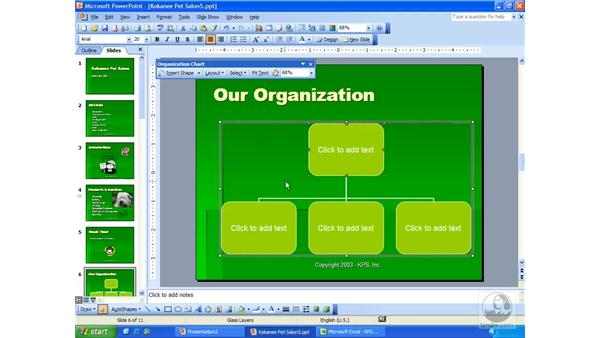 creating a new chart: PowerPoint 2003 Essential Training