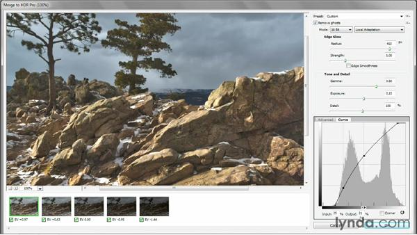 Adding a curve in HDR Pro to heighten reality: Photoshop CS6 One-on-One: Mastery