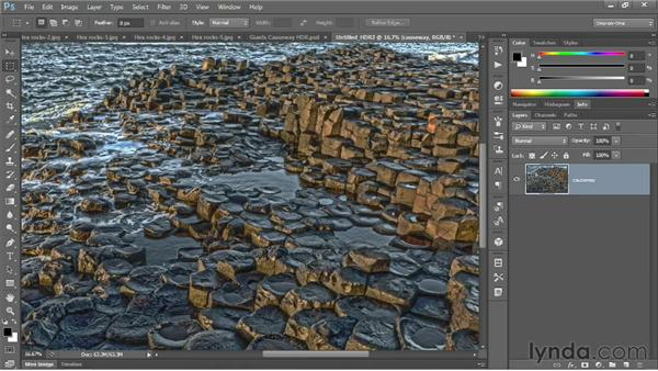 Merging simulated exposures in HDR Pro: Photoshop CS6 One-on-One: Mastery