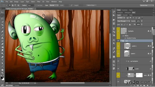 Expanding and collapsing all groups and effects: Photoshop CS6 One-on-One: Mastery
