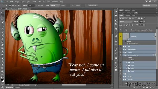 Moving many layers without upsetting comps: Photoshop CS6 One-on-One: Mastery