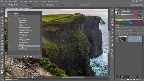 Modifying settings and playing an action: Photoshop CS6 One-on-One: Mastery
