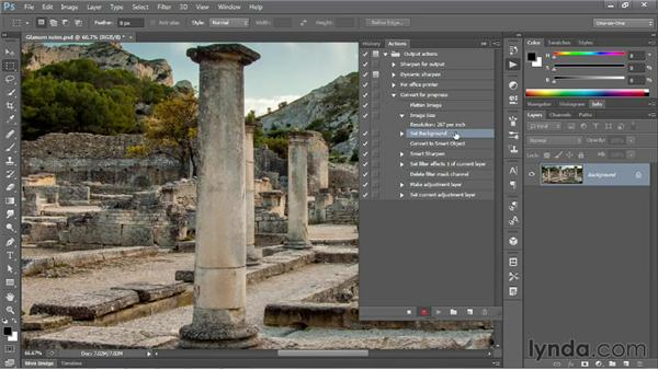Actioning a consistent image resolution: Photoshop CS6 One-on-One: Mastery