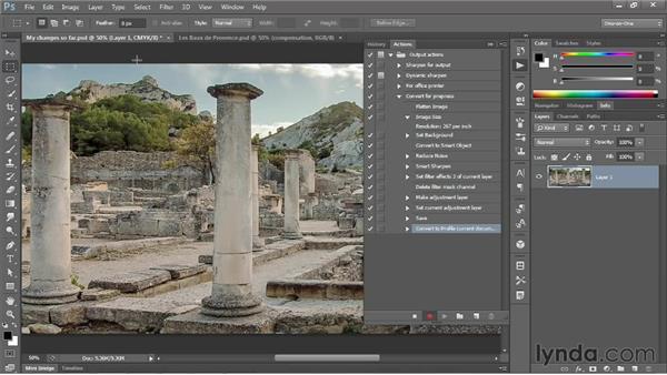 Actioning the creation of a flat CMYK image: Photoshop CS6 One-on-One: Mastery