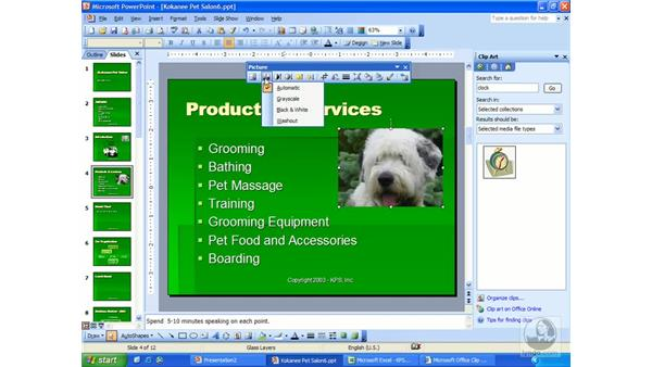 add and edit pictures: PowerPoint 2003 Essential Training
