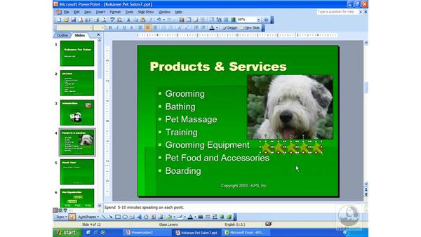 grouping objects: PowerPoint 2003 Essential Training