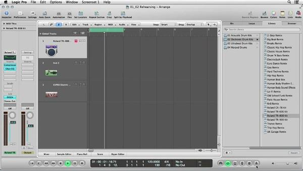 Rehearsing the beat, cycling in Logic, and recording the kick and snare: Logic Production Techniques: Making Beats