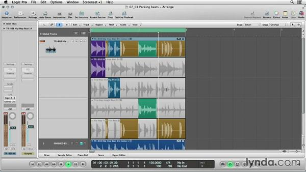 Packing drum loops into a take folder: Logic Production Techniques: Making Beats