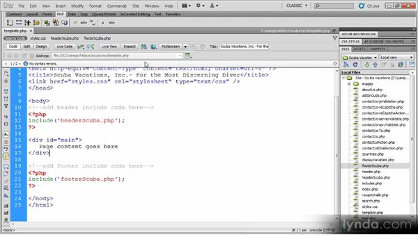 Building the course template: Dynamic Dreamweaver Websites: Creating and Validating Forms