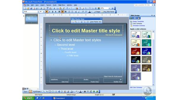slide master: PowerPoint 2003 Essential Training