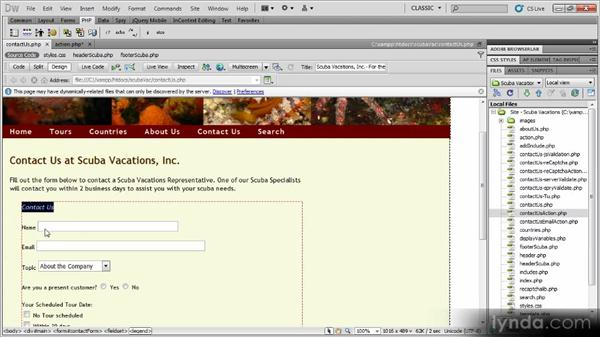 Printing form data: Dynamic Dreamweaver Websites: Creating and Validating Forms