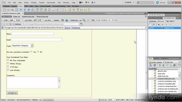 Adding a behavior: Dynamic Dreamweaver Websites: Creating and Validating Forms